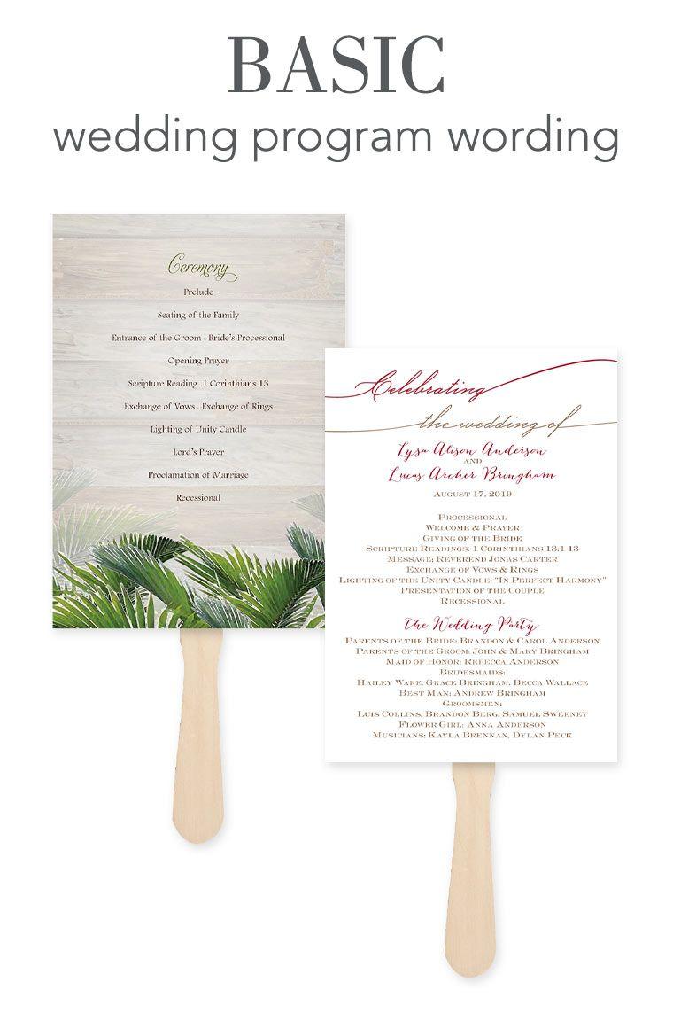 Wedding Program Wording - Basic