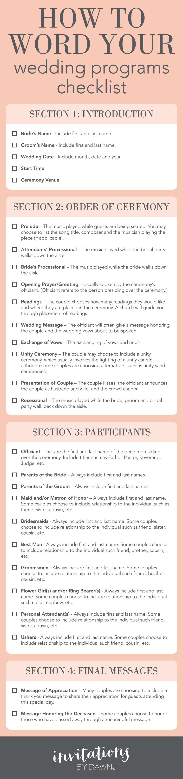 Wedding Program Checklist