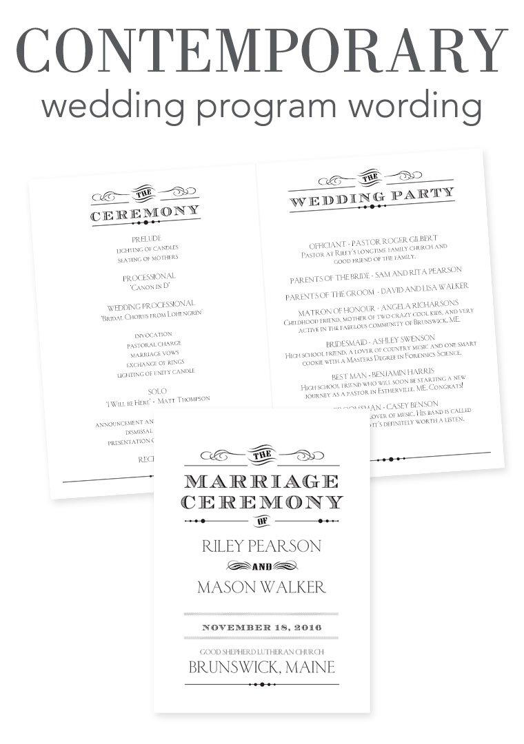 Wedding Program Wording - Contemporary