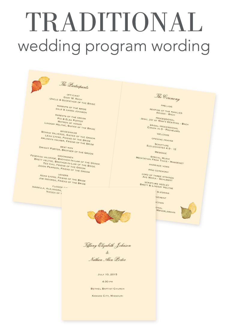 Wedding Program Wording - Traditional