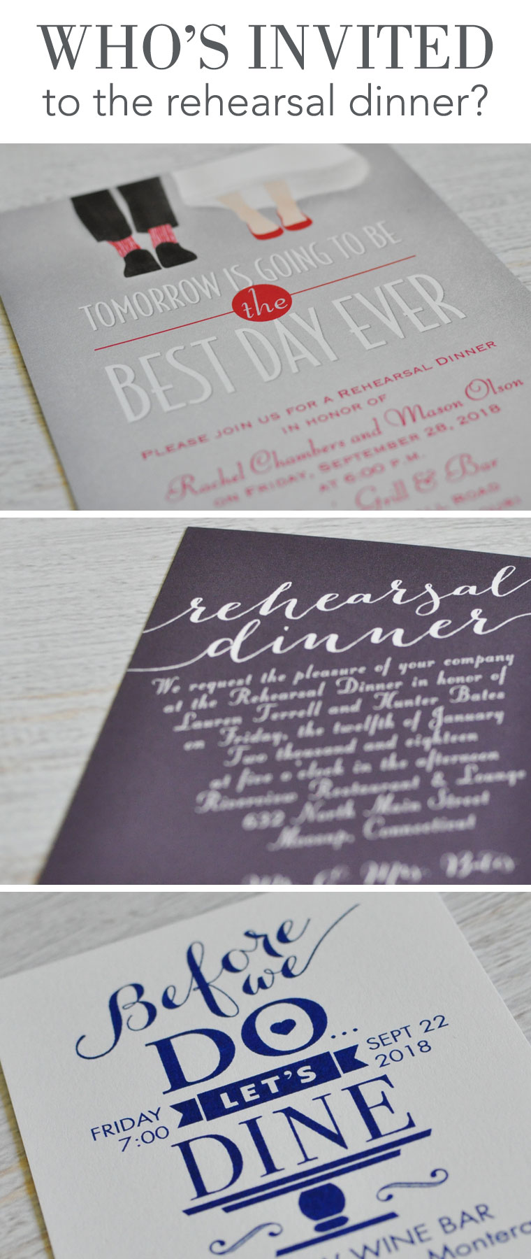 Who's invited to the rehearsal dinner?