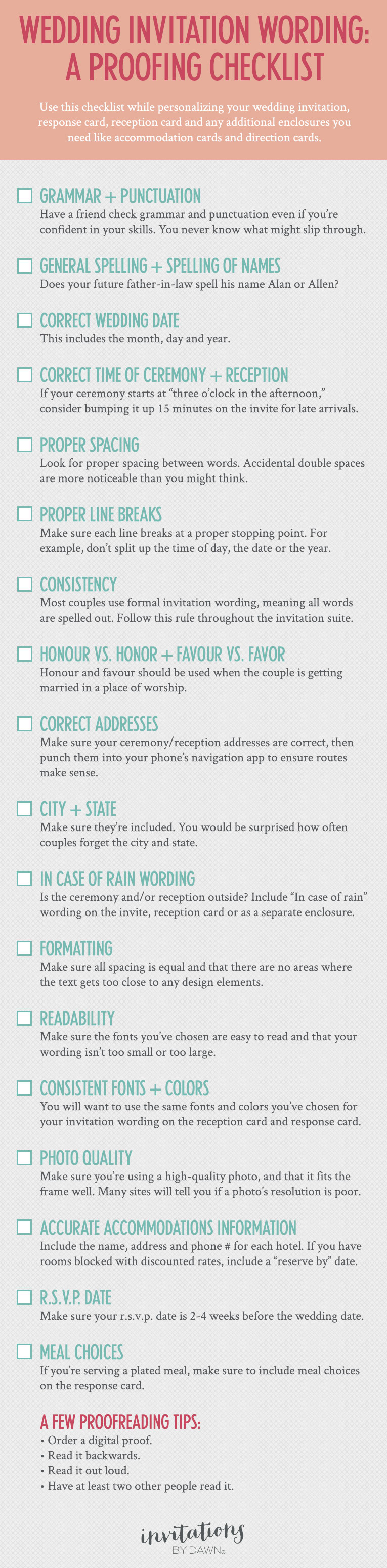 Wedding Invitation Checklist