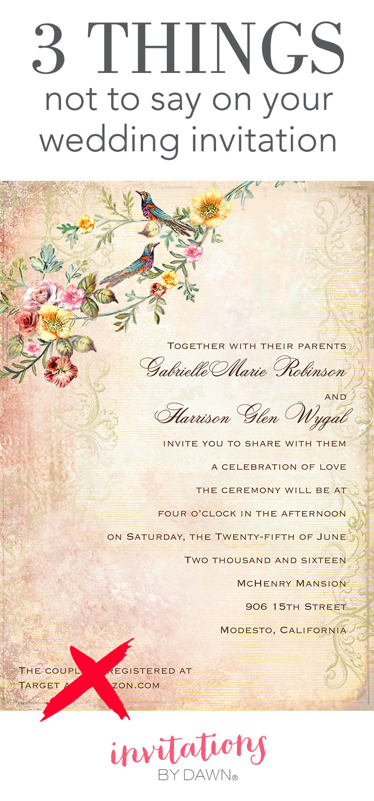 3 Things Not to Say on Your Wedding Invitation