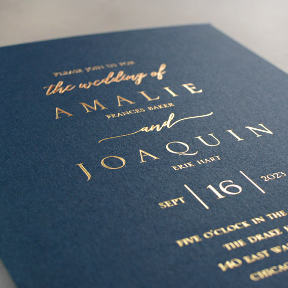 Navy Brilliance Foil Invitation