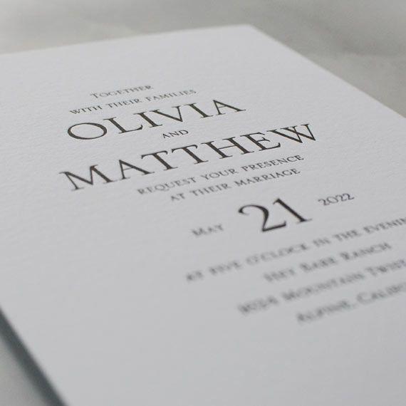 Modern Minimalist Letterpress Invitation