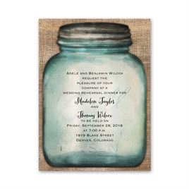 Country Canning Jar - Petite Rehearsal Dinner Invitation