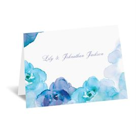 Watercolor Roses - Blue - Thank You Card and Envelope