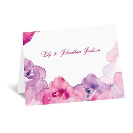 Watercolor Roses - Purple - Thank You Card and Envelope