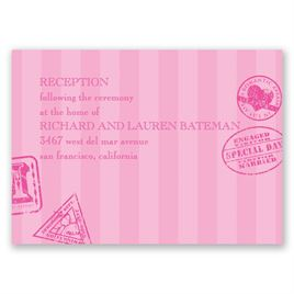 Wedding Reception and Information Cards: Passport to Romance Reception Card