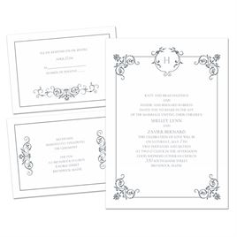 Delicate Scrolls - 3 for 1 Invitation