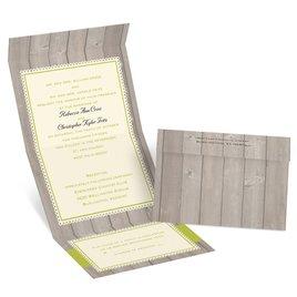 Rustic Fence - Ecru - Seal and Send Invitation
