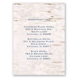 Wedding Reception and Information Cards: Carved in Love Accommodations Card
