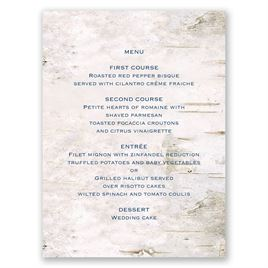 Wedding Table Decorations: Carved in Love Menu Card