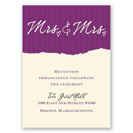 Wedding Reception and Information Cards: Mrs. and Mrs. - Reception Card
