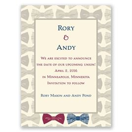 Bow Ties - Ecru - Save the Date Card