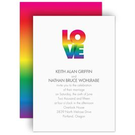 Same Sex Wedding Invitations: Rainbow Love Invitation