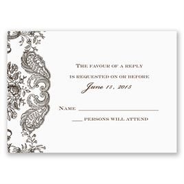 Wedding Response Cards: Rustic Lace Response Card and Envelope