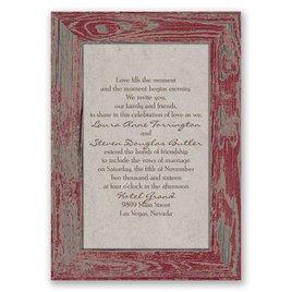 Rustic Frame - Barn Red - Invitation