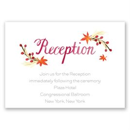 Wedding Reception and Information Cards: Autumn Arrangement Reception Card