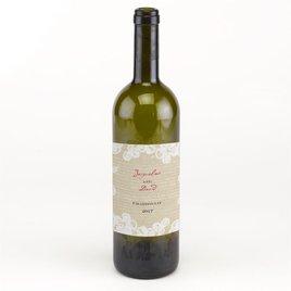 Wedding Favors: Burlap and Lace Wine Bottle Label