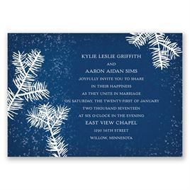 Snowy Pines - Navy - Invitation