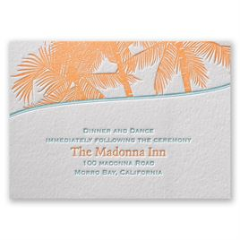 Wedding Reception and Information Cards: Tropical Escape Letterpress Reception Card