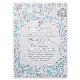 Wedding Invitations: Winter Whimsy Letterpress Invitation