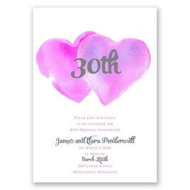 Two Hearts - Fuchsia - Anniversary Invitation