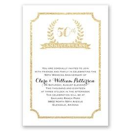 50th Crest - Faux Glitter - Anniversary Invitation
