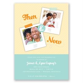 Then and Now - Aqua - Anniversary Invitation