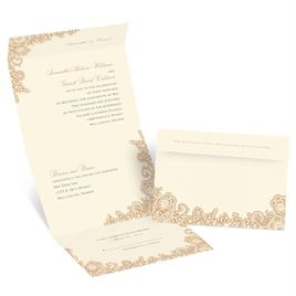 Lacy Corners  - Ecru - Seal and Send Invitation