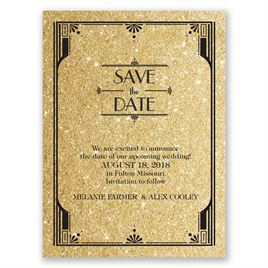Glamorous - Timber Faux Glitter - Save the Date Card