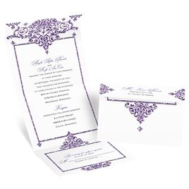 Dazzling Damask - Violet Faux Glitter - Seal and Send Invitation