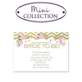 Gold: Chevron and Roses Faux Glitter Mini Bridal Shower Invitation