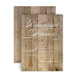 Rehearsal Dinner Invitations: Wood Panels Petite Rehearsal Dinner Invitation