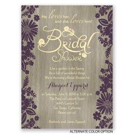 Flowers and Woodgrain - Petite Bridal Shower Invitation