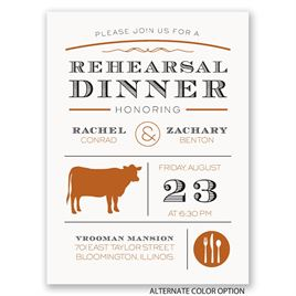 "Chef""s Choice - Beef - Petite Rehearsal Dinner Invitation"