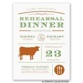 "Chef""s Choice - Beef - Petite Rehearsal Dinner Invitation"