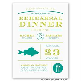 "Chef""s Choice - Fish - Petite Rehearsal Dinner Invitation"