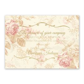 Wedding Reception and Information Cards: Antique Roses Foil Reception Card
