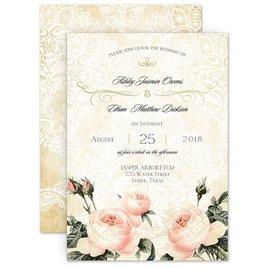 Shabby Chic Wedding Invitations: Vintage Garden Foil Invitation