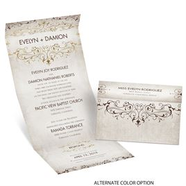 Victorian Elegance - Gold - Foil Seal and Send Invitation