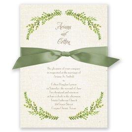 Burlap and Leaves - Invitation