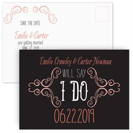 Save The Dates: Swirl Frame - Save the Date Postcard