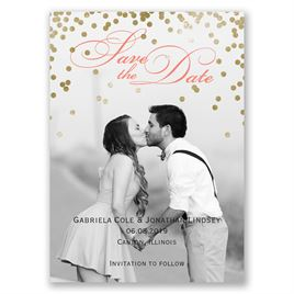 Gold Polka Dots Save the Date Magnet