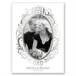 Antique Frame - Silver - Foil Save the Date Card