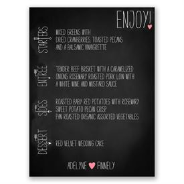 Wedding Menu Cards: Points to Love Menu Card