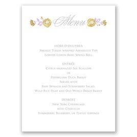Wedding Menu Cards: Roses and Whimsy Foil Menu Card