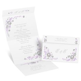 Roses and Whimsy - Silver Foil - Seal and Send Invitation
