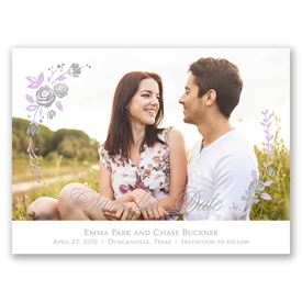 Roses and Whimsy - Silver Foil - Save the Date Card